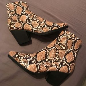 Public Desire zip up snake print ankle boot